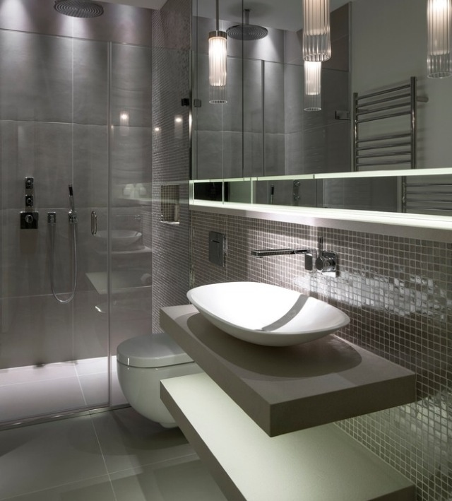 Modern Bathroom Rain Shower Design and vanity