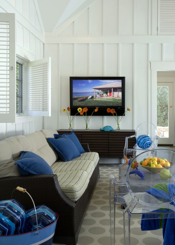 Painting Tray Ceilings Beach Style Living Room