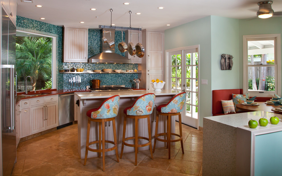 Tropical Kitchen Decorating ideas with breakfast nook counter stools french doors