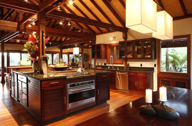 Tropical kitchen with attached ceiling and wooden beams