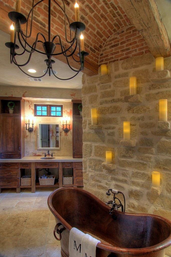 Tuscan-bathroom-design with cooper tub