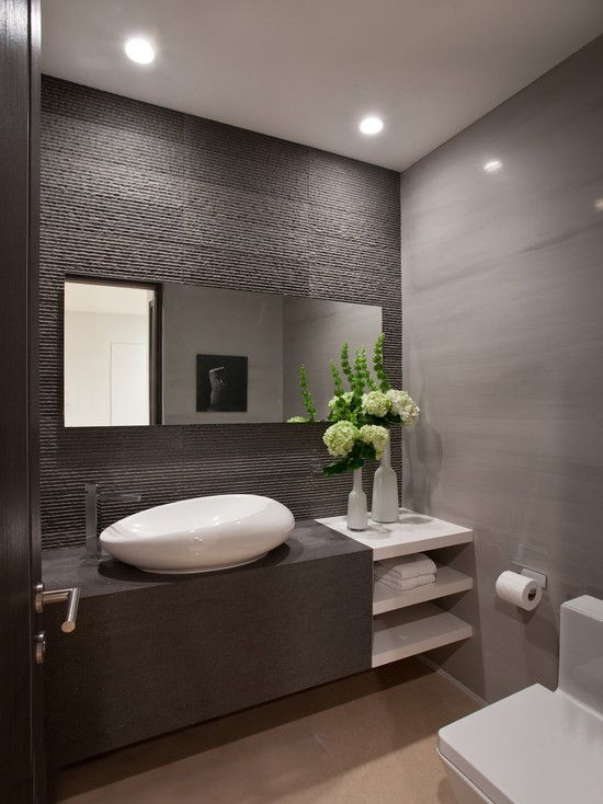 White Contemporary Powder Room