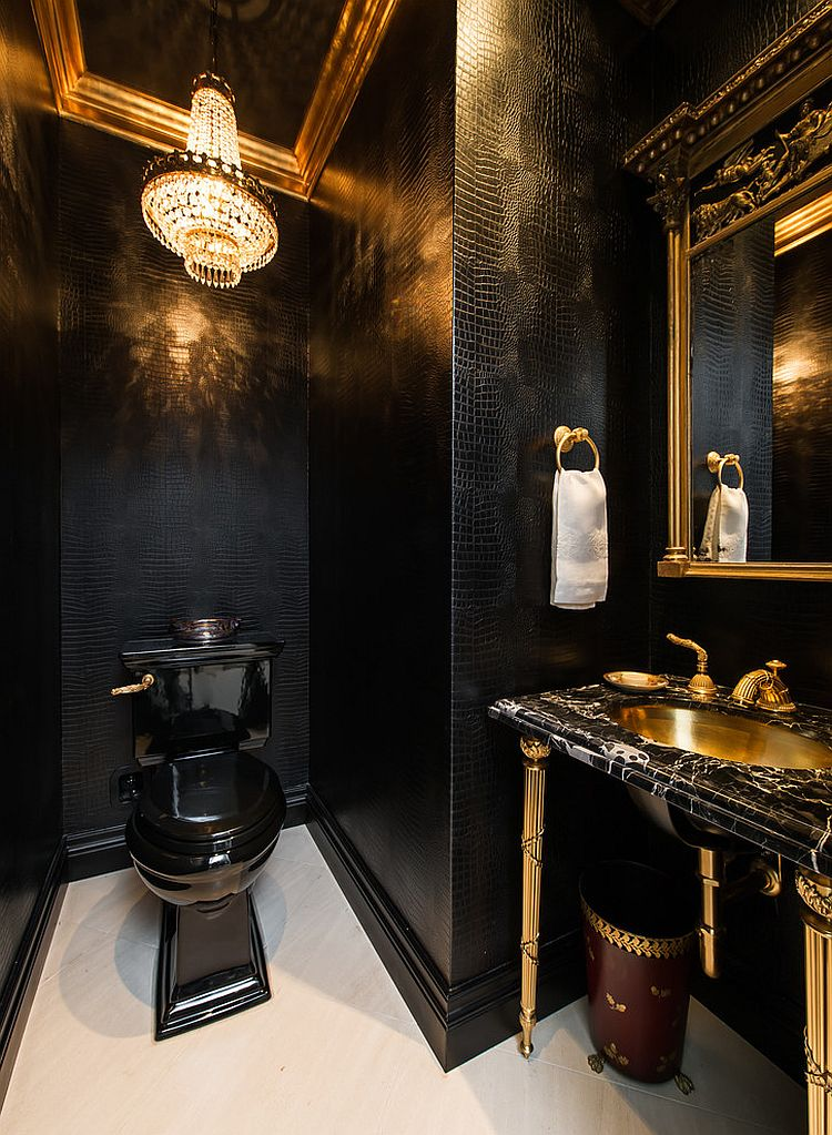 dark powder room