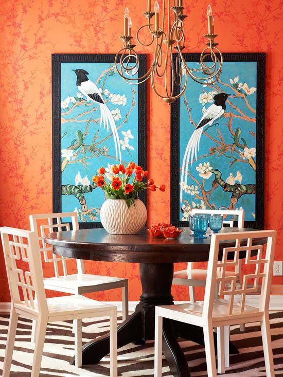 Asian Dining Room twist on Mid Century Modern - White Chairs, Orange Wallpaper, Blue
