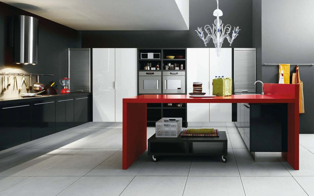 Black-red-white-modern-kitchen