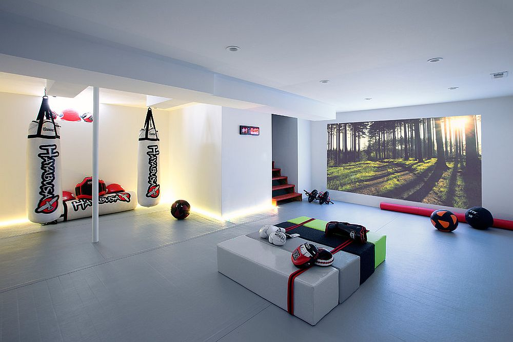 Contemporary basement workout zone looks simply stunning