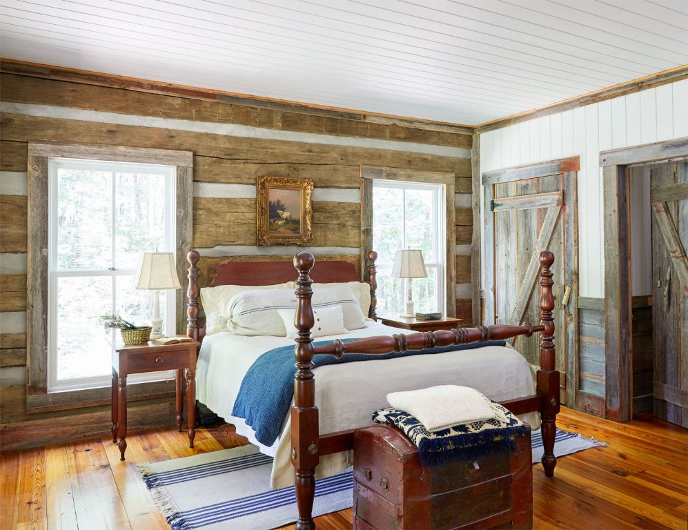 Country Farmhouse reclaimed-cabin-another-bedroom