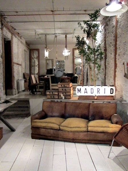 Distressed industrial living room