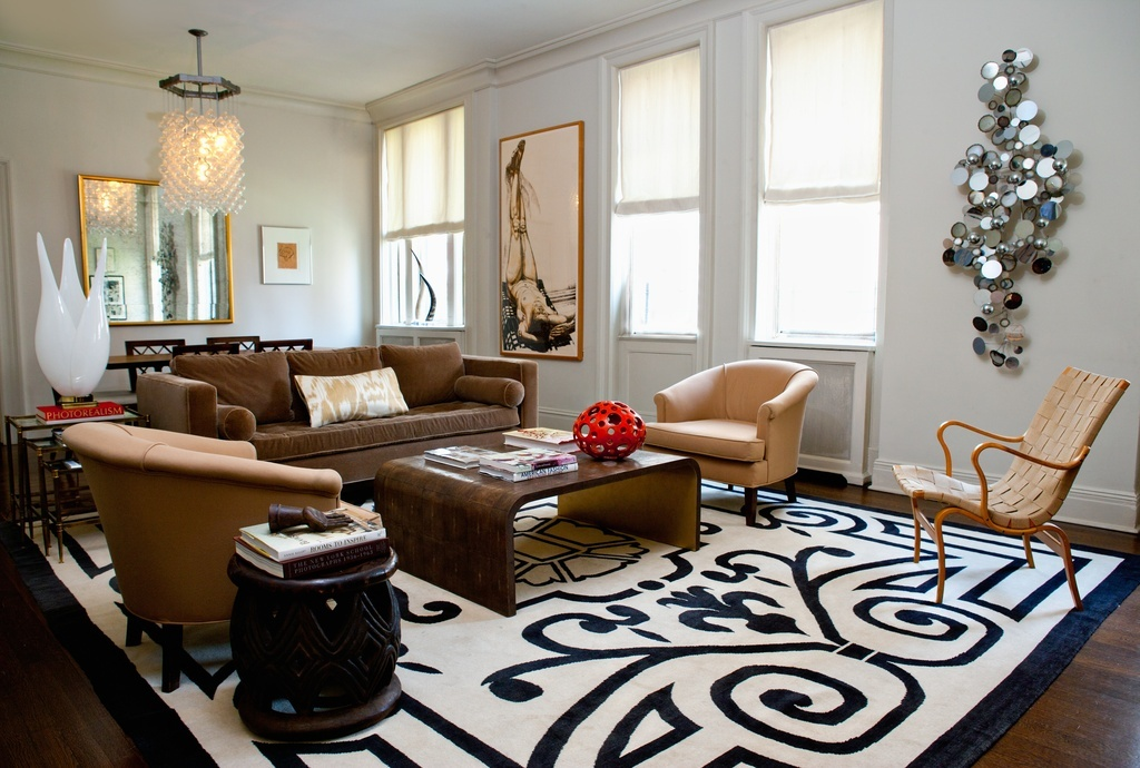 Eclectic Living Room with Knoll Risom Arm Lounge Chair, Carved African stool, One Kings