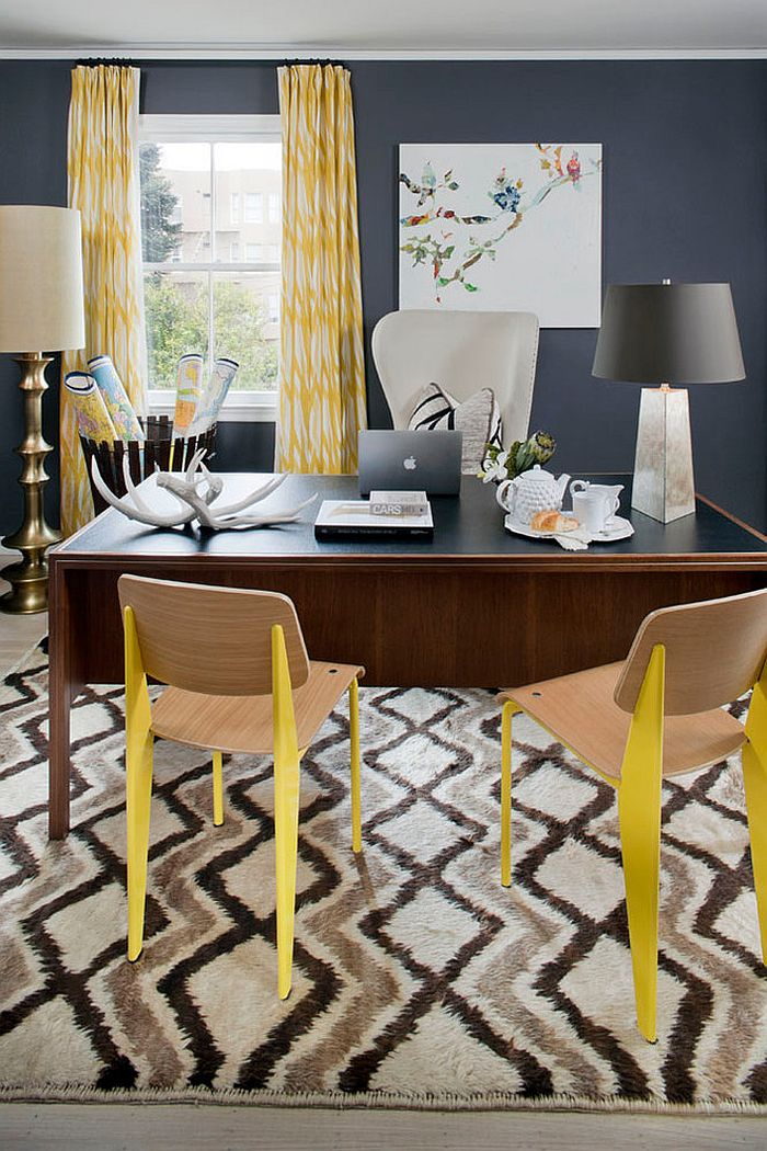 Eclectic home office in gray with color and pattern