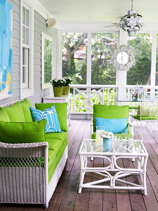 Fun, bright, happy front porch
