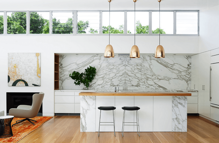Luxury Kitchen Design With White Cabinets And Hanging