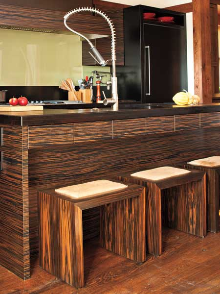 Macassar ebony-veneered stools