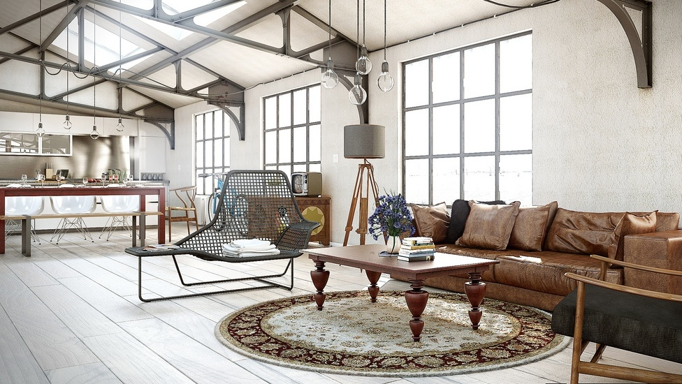 Open Plan Industrial Living Room