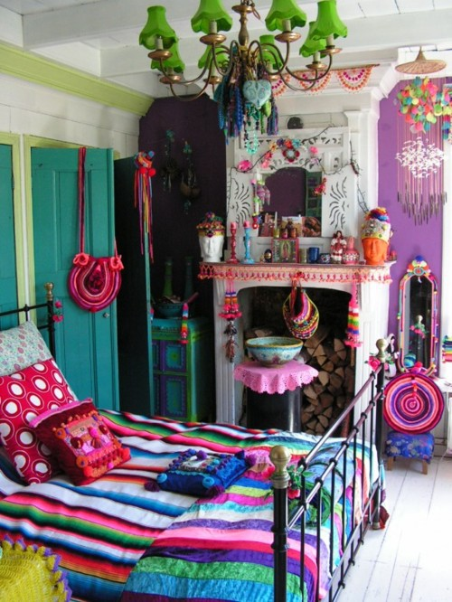 Really Colorful Bedroom In Eclectic Style