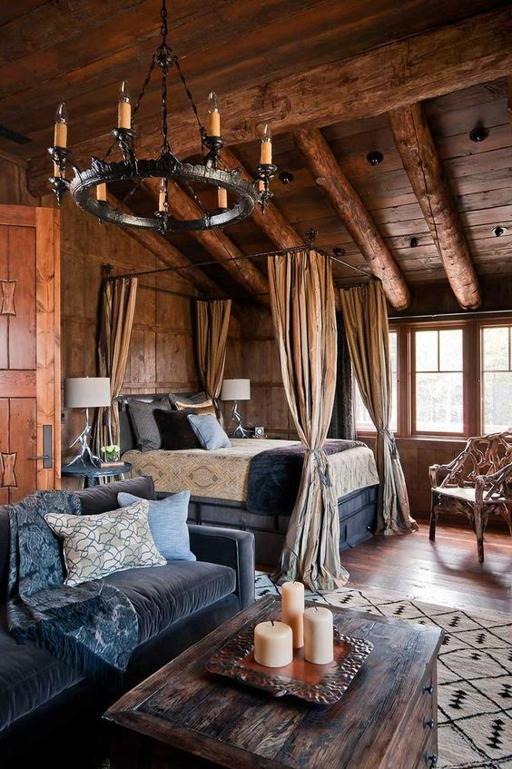 Rustic bedroom with vaulted ceiling and chandelier