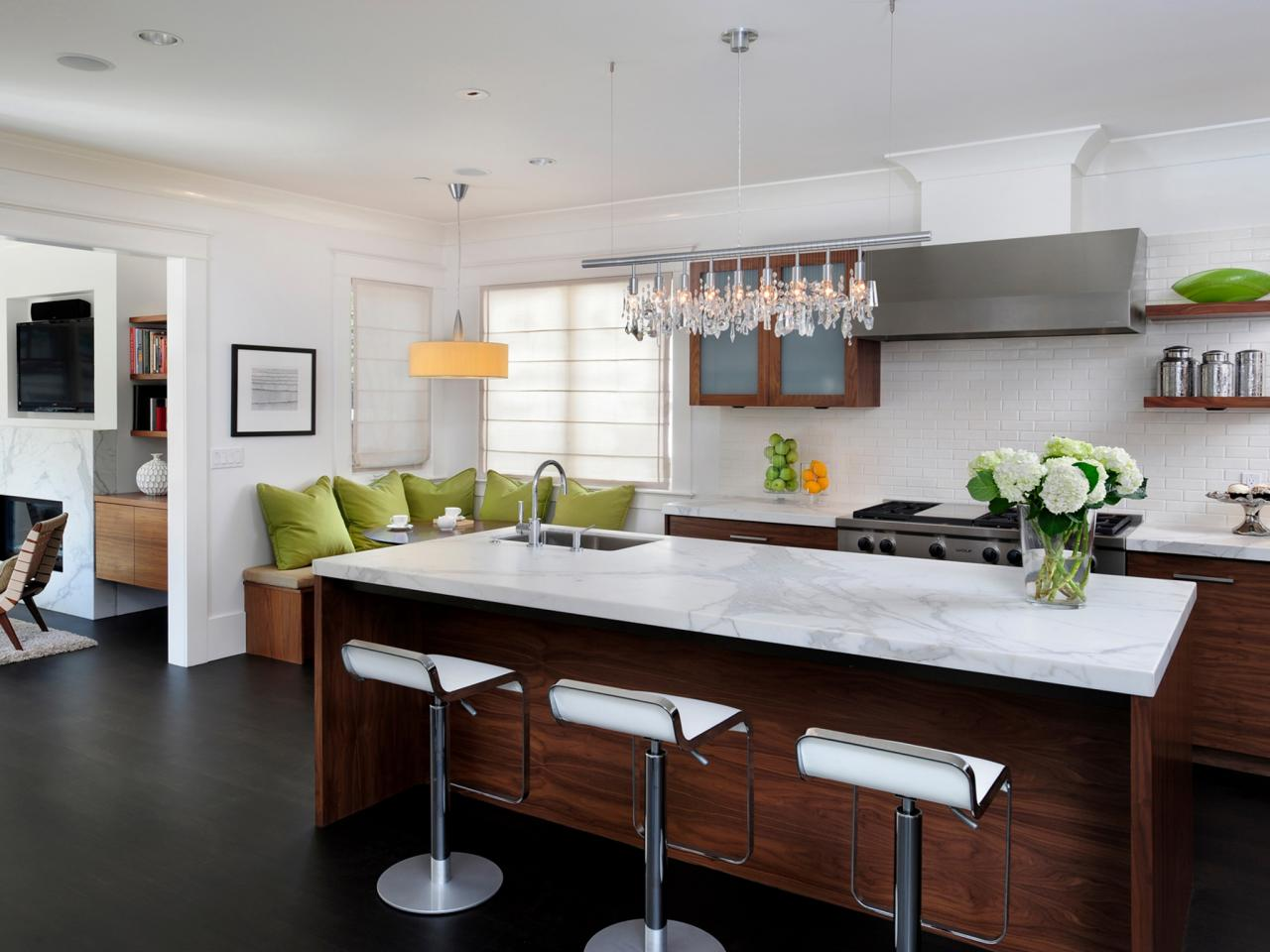 White Kitchen With Dark Wood Flooring