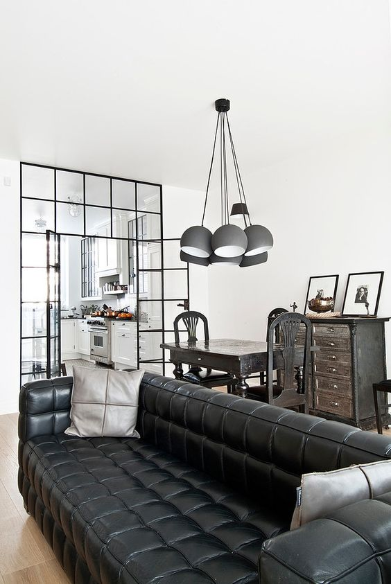 black tufted leather interior design ideas