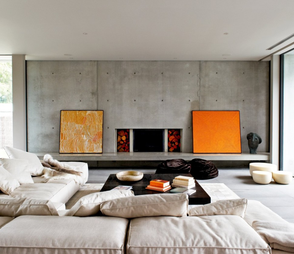 loft-industrial-living-room-in-concrete-fireplace-also-l-shaped-cream-cozy-sectional-sofa-with-cushion