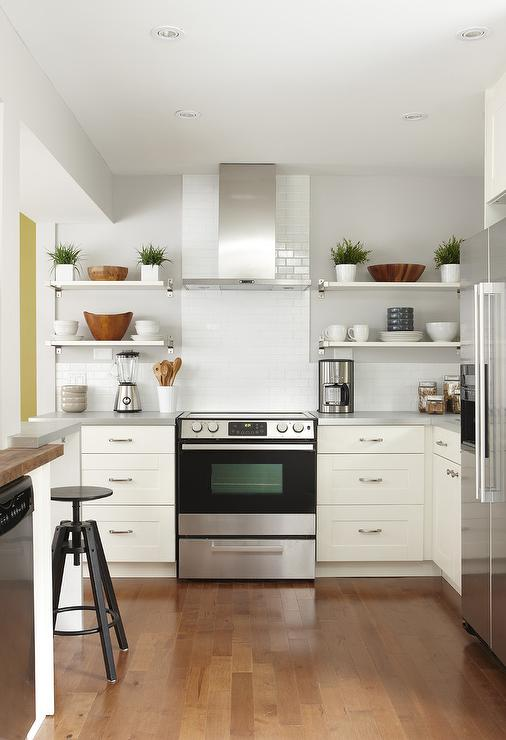 Amazing kitchen features white cabinets
