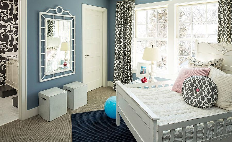 Beach-style-kids-room-with-bluish-gray-walls