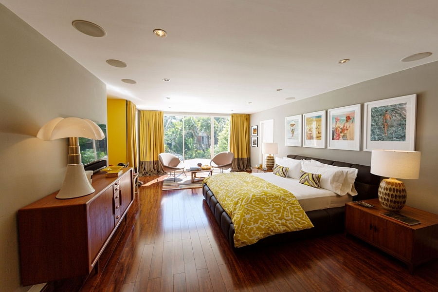 Beautiful-bedroom-in-yellow-gray-and-chocolate