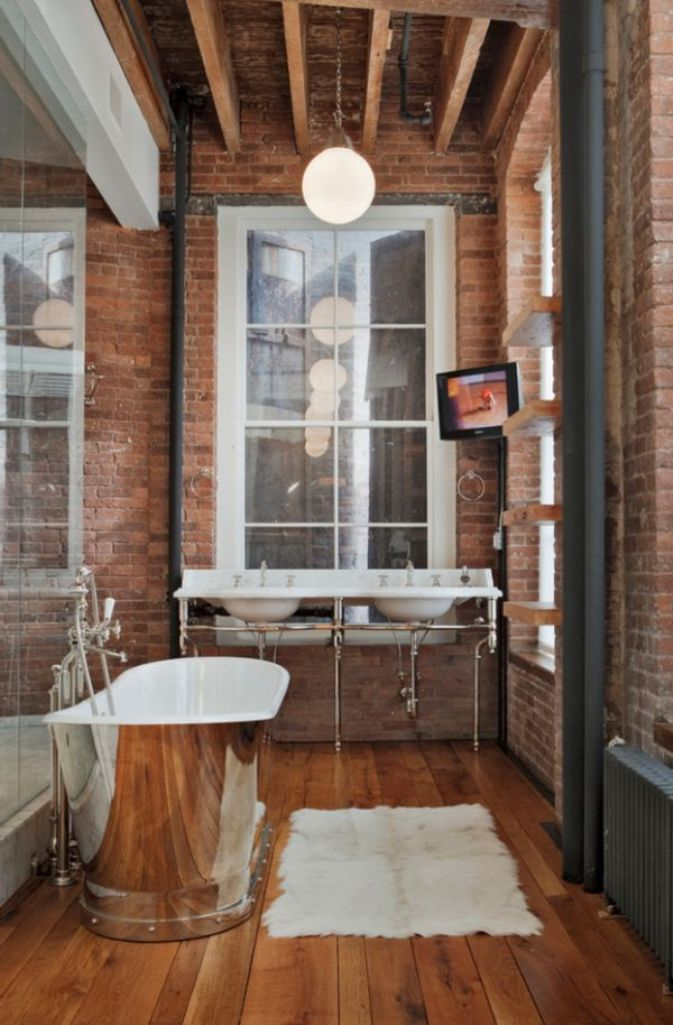 Brick Walls Industrial Bathroom