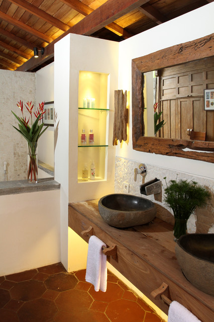 Double sink with floating counter top tropical-bathroom