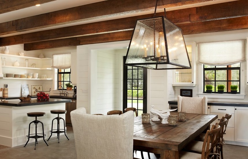 Farmhouse Dining Table Kitchen Rustic with Beams in the Kitchen