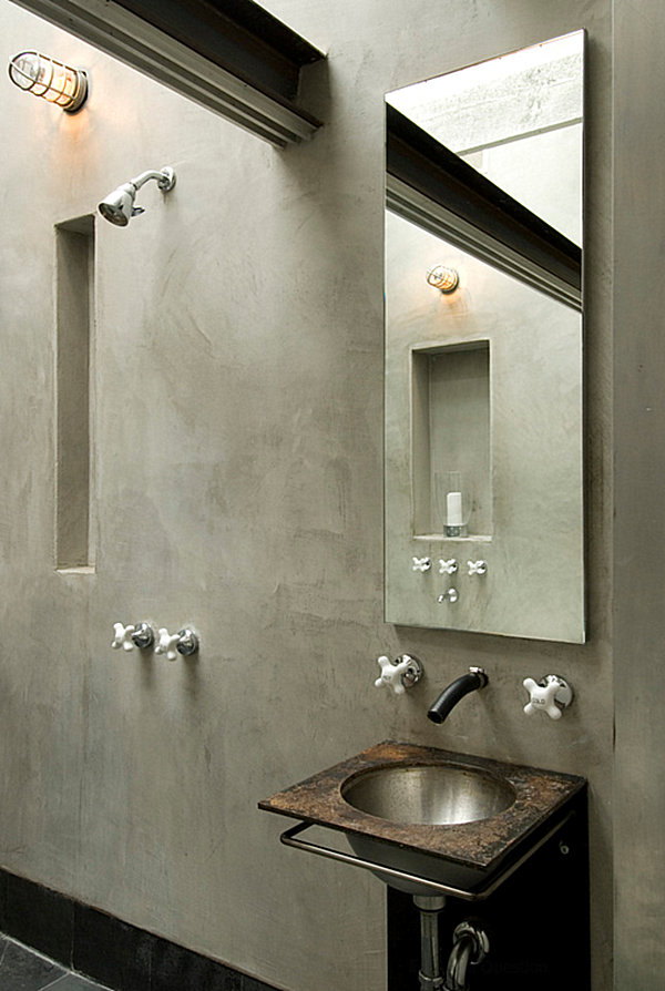 Gray tones in an industrial bathroom