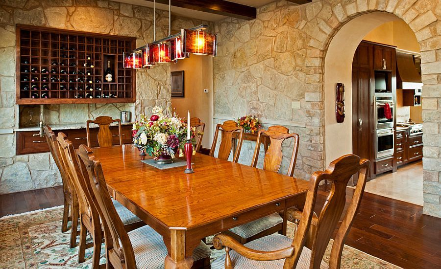 Mediterranean dining room offer a perfect setting to showcase the beauty of stone walls