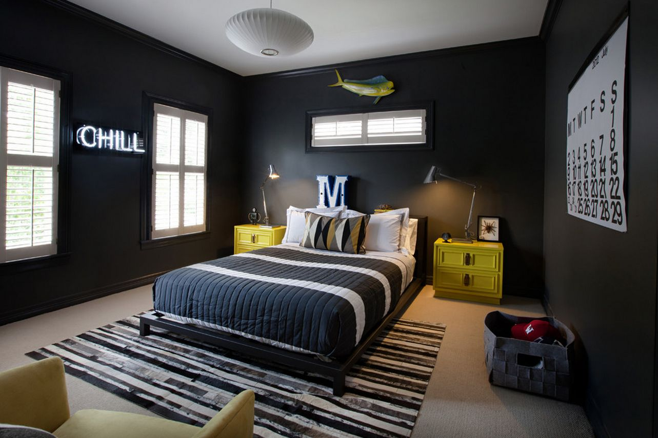 Mesmerizing Black Cool Bedroom Ideas For Guys With Yellow Wooden ...