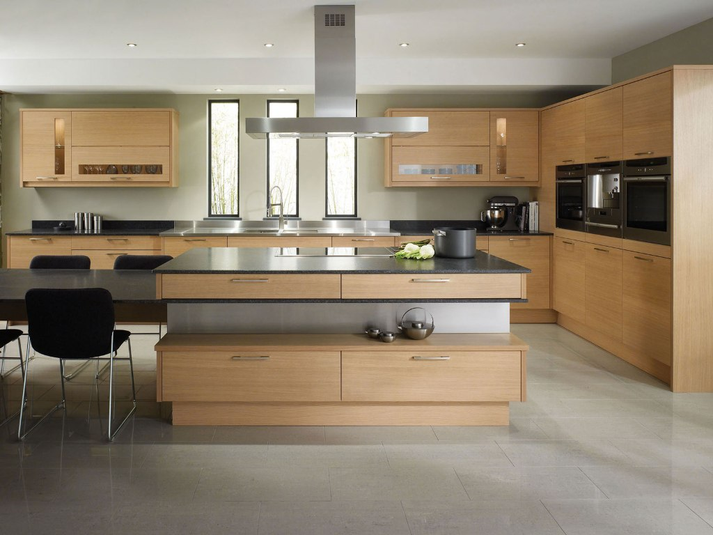 Pretty Contemporary Kitchen Design Using Wooden Kitchen Cabinet Combined With Grey Kitchen Countertop And Industrial Lighting