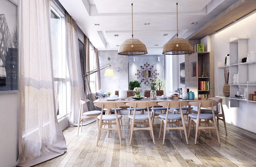 Rustic-dining-room-Wood-laminated-flooring-Modern-dining-set