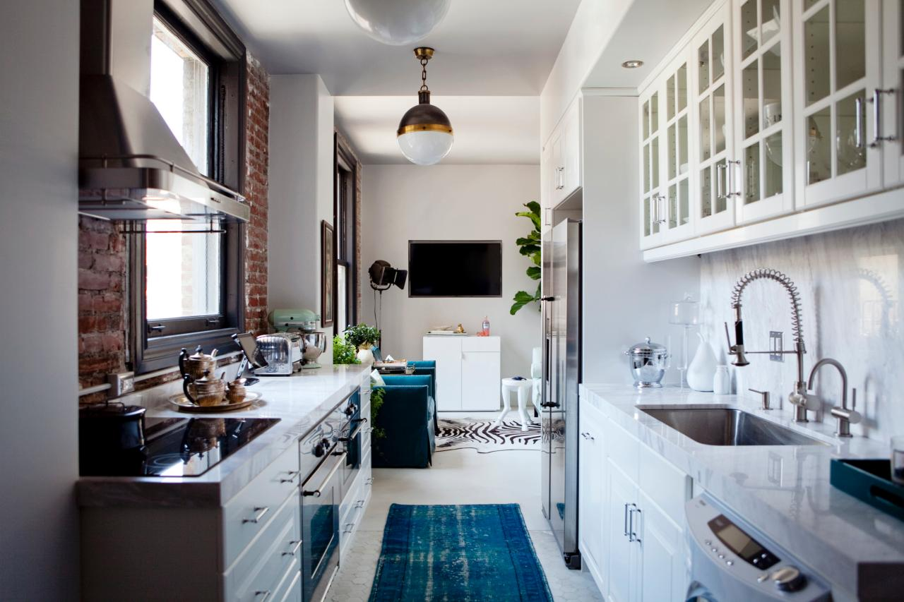 Sophisticated Galley Kitchen With Teal Runner