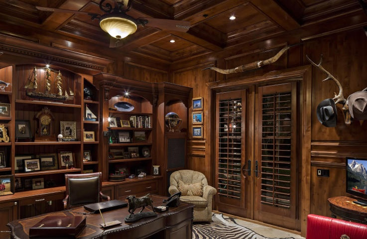 Traditional Home Office with Hardwood floors, Box ceiling