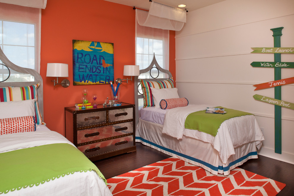 beach-theme-bedroom-Kids-Contemporary-with-accent-wall-beach-bed