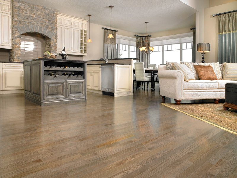 Red Oak hardwood Floor In Charcoal stain