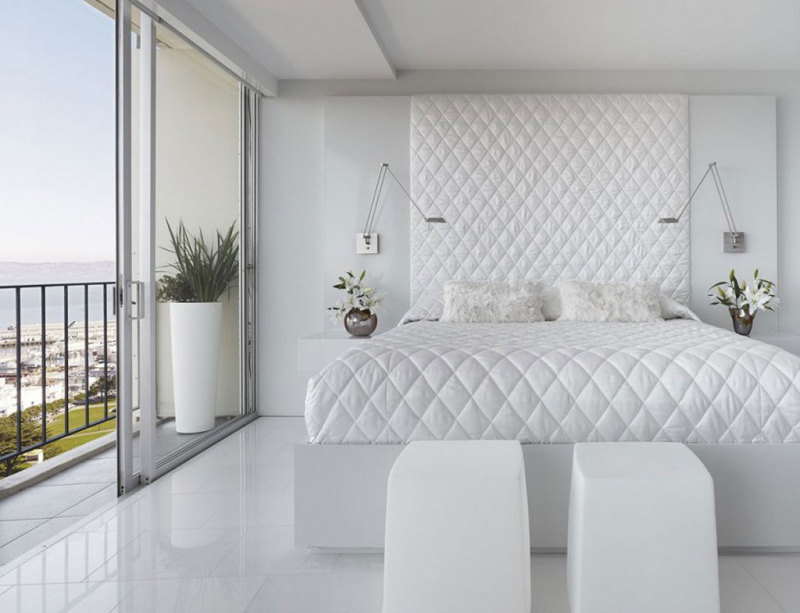 All White Modern Bedroom With Tufted Headboard