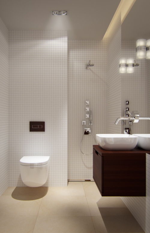 Exceptional Modern Small Bathroom With Subway Tiles