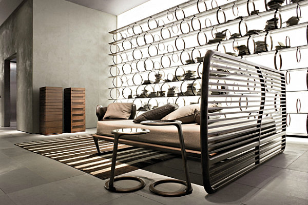 Modern Bed With Slatted Headboard