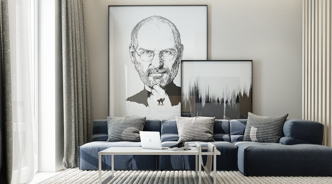 Modern Living Room With Steve Jobs Artwork