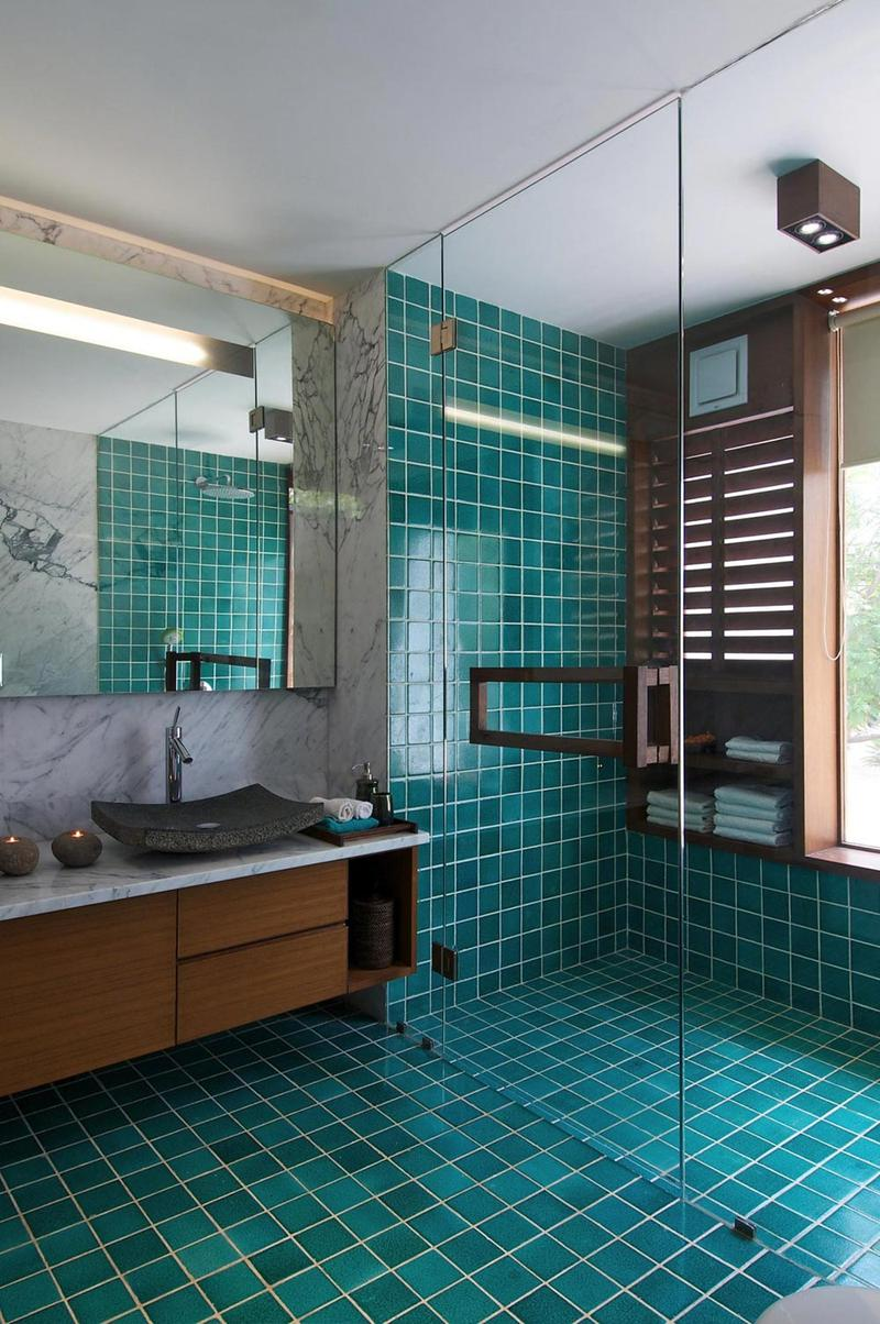 Blue Bathroom with Spacious Glass Shower