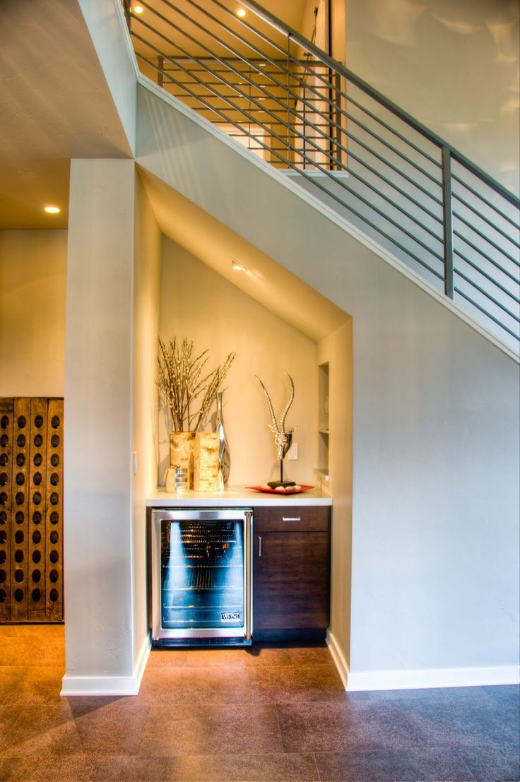 Contemporary style mini bar under the stairs