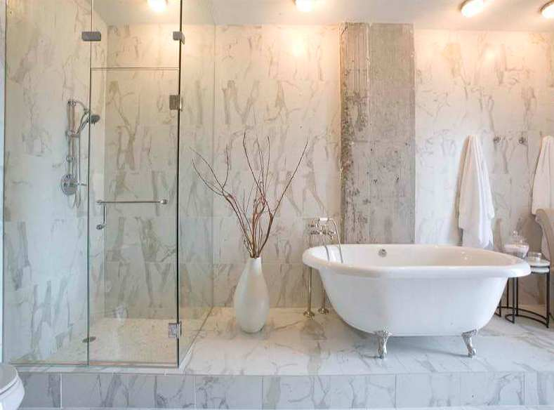 Modern Granite Bathroom With Glass Shower