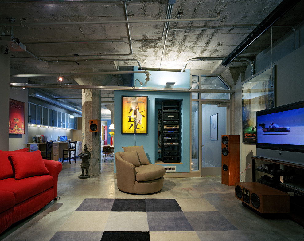 Industrial Home Theater Design