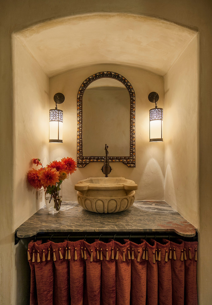 Mediterranean Powder Room Design