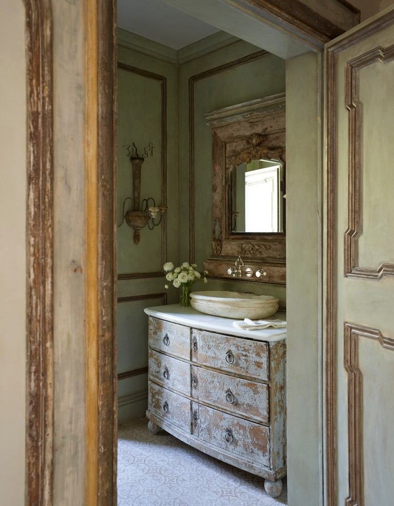 Shabby-Chic Style Powder Room Design