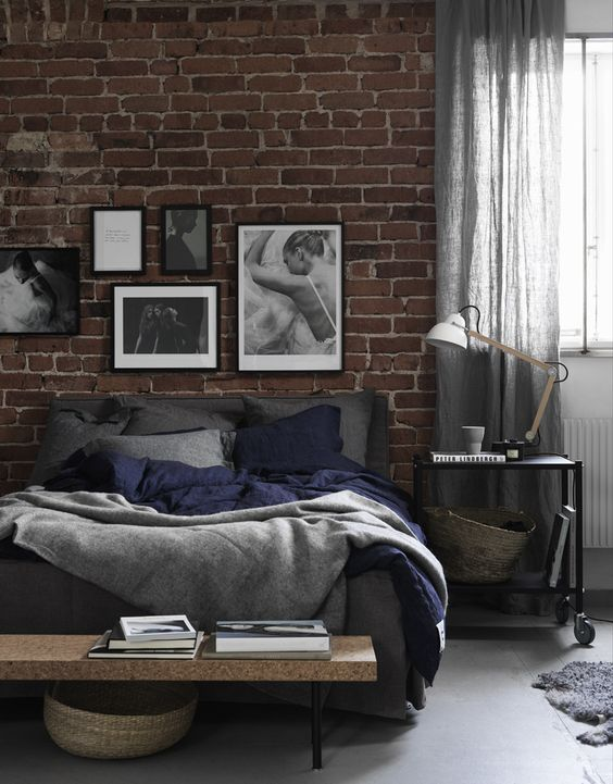 rustic-exposed-brick-wall-bedroom
