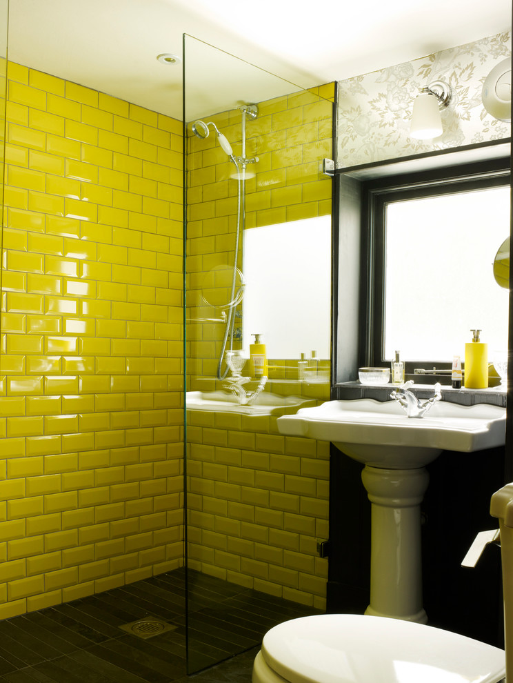 yellow-subway-tiles-eclectic-bathroom
